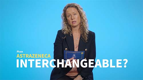 Still image from video 'Are the different vaccines, Moderna, Pfizer, AstraZeneca interchangeable?'